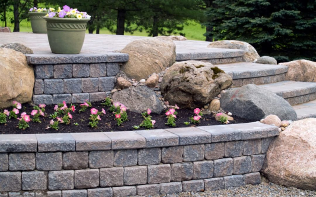 custom brick retaining wall and outdoor brick staircase