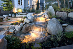 stone and waterfall outdoor staircase