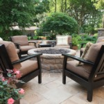 custom stone tile patio with custom brick outdoor firepit
